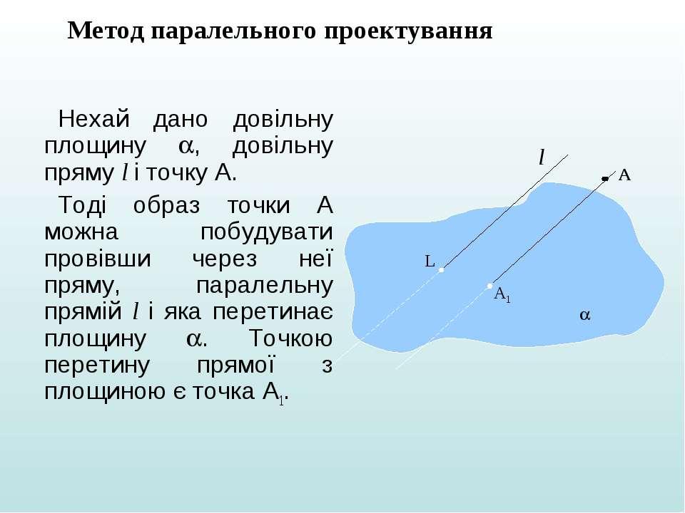Нехай дано довільну площину , довільну пряму l і точку А. Тоді образ точки А ...