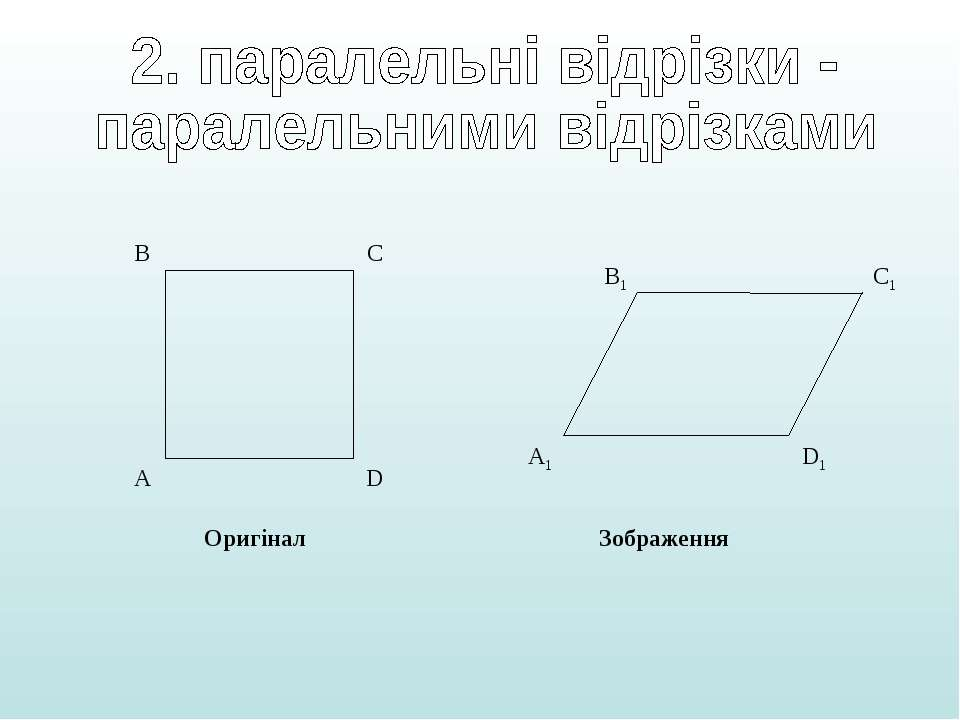 А B C D А1 B1 C1 D1 Оригінал Зображення
