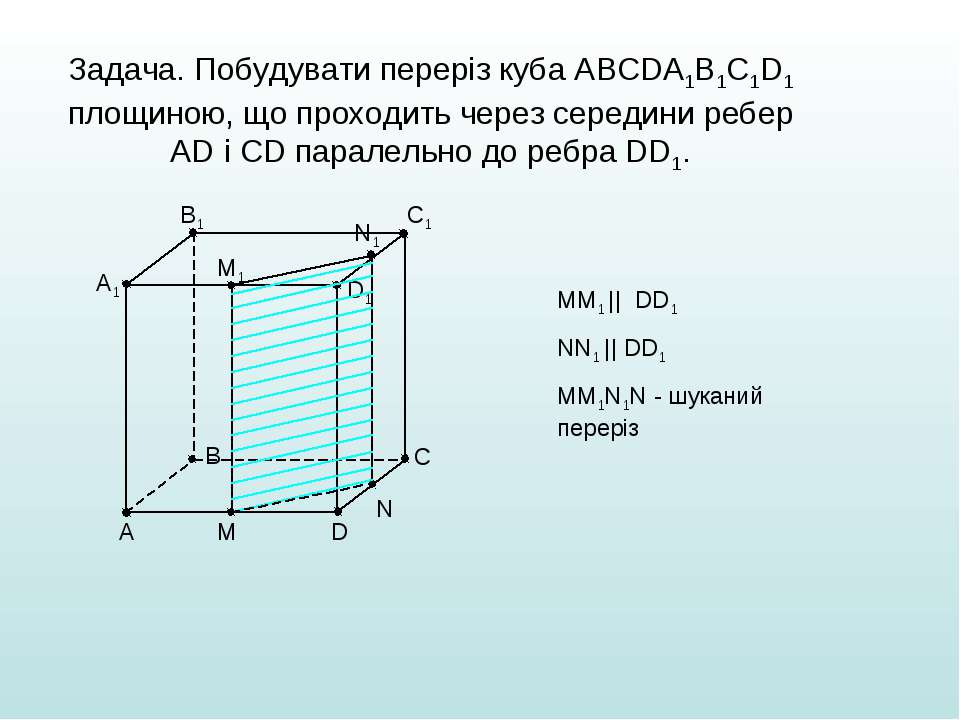 Задача. Побудувати переріз куба АВСDА1В1С1D1 площиною, що проходить через сер...
