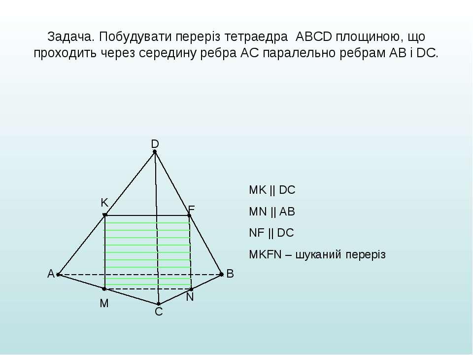 Задача. Побудувати переріз тетраедра ABCD площиною, що проходить через середи...