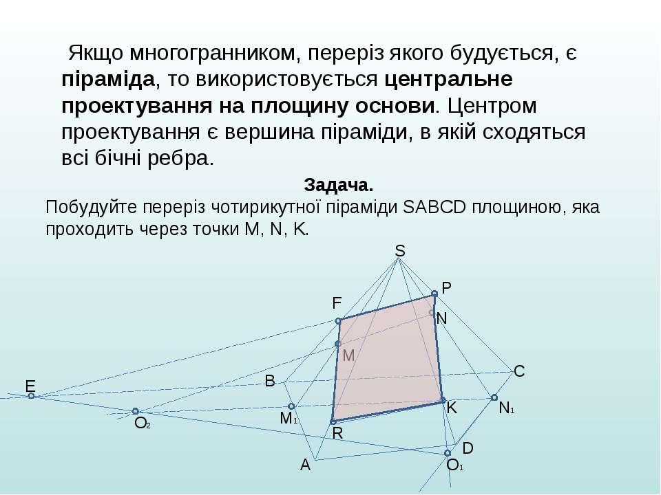 Якщо многогранником, переріз якого будується, є піраміда, то використовується...