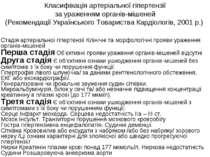 Класифікація артеріальної гіпертензії за ураженням органів-мішеней (Рекоменда...