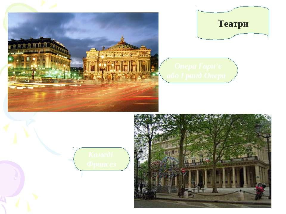 Комеді Франсез Опера Гарн'є або Гранд Опера Театри