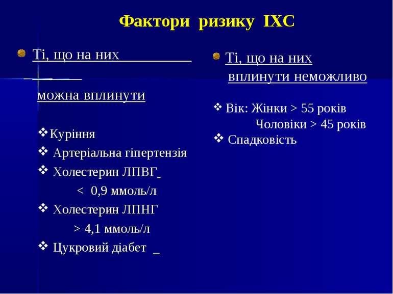 Фактори ризику ІХС Ті, що на них можна вплинути Куріння Артеріальна гіпертенз...