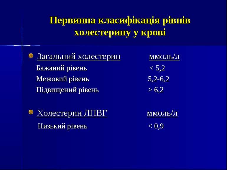 Первинна класифікація рівнів холестерину у крові Загальний холестерин ммоль/л...