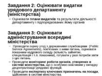 Завдання 2: Оцінювати видатки урядового департаменту (міністерства) Оцінювати...
