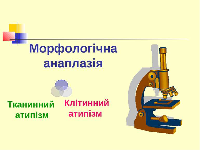 Морфологічна анаплазія Клітинний атипізм Тканинний атипізм