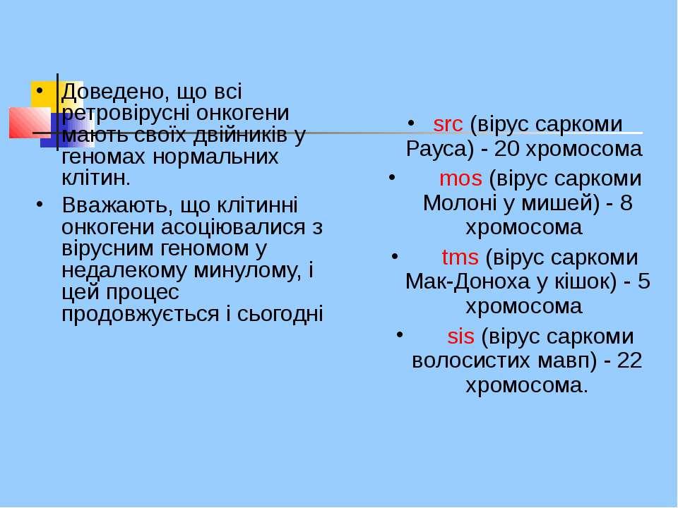 Доведено, що всі ретровірусні онкогени мають своїх двійників у геномах нормал...