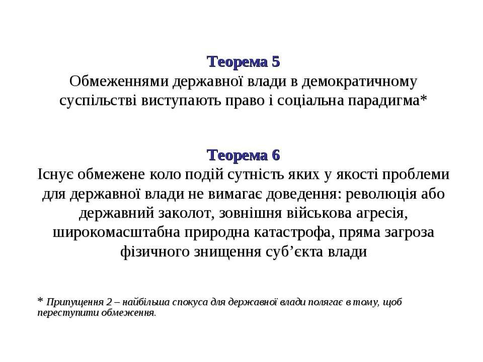 Теорема 5 Обмеженнями державної влади в демократичному суспільстві виступають...