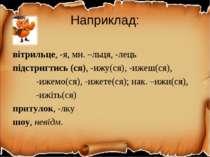 Наприклад: вітрильце, -я, мн. –льця, -лець підстригтись (ся), -ижу(ся), -ижеш...