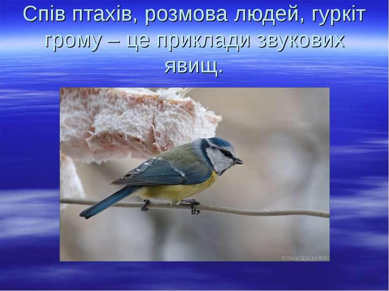 Спів птахів, розмова людей, гуркіт грому – це приклади звукових явищ.