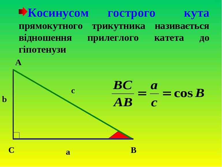 Косинусом гострого кута прямокутного трикутника називається відношення прилег...