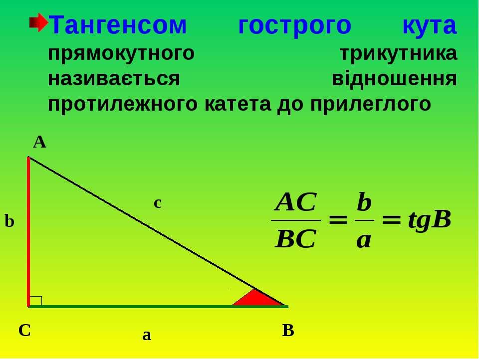 Тангенсом гострого кута прямокутного трикутника називається відношення протил...