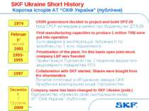 October 30, 2007 © SKF Group Slide * SKF Ukraine Short History Коротка історі...