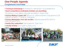 October 30, 2007 © SKF Group Slide * One People Agenda Соціальна політика ! T...