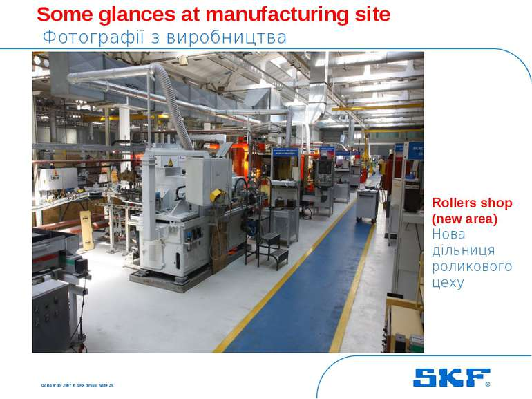 October 30, 2007 © SKF Group Slide * Some glances at manufacturing site Фотог...