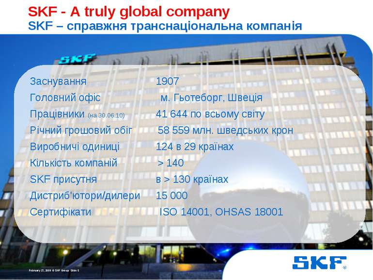 October 30, 2007 © SKF Group Slide * SKF - A truly global company SKF – справ...