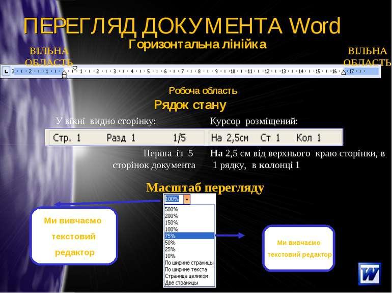 ПЕРЕГЛЯД ДОКУМЕНТА Word Рядок стану Перша із 5 сторінок документа У вікні вид...