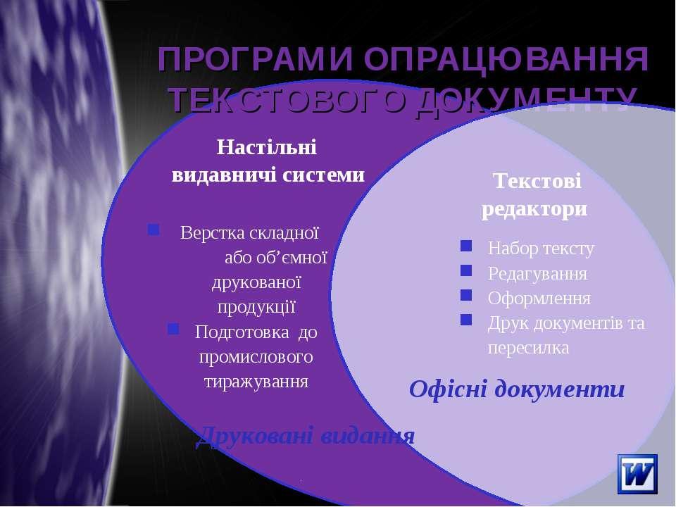 ПРОГРАМИ ОПРАЦЮВАННЯ ТЕКСТОВОГО ДОКУМЕНТУ Текстові редактори Офісні документи...