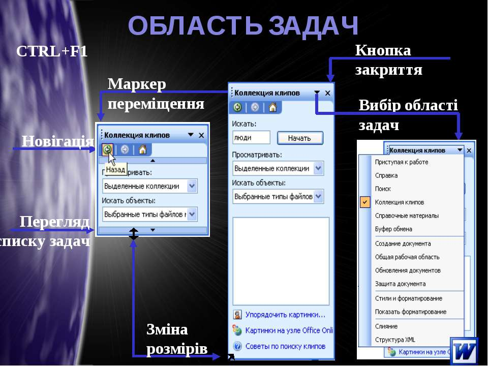 * ОБЛАСТЬ ЗАДАЧ Вибір області задач Маркер переміщення Зміна розмірів Новігац...