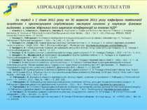 АПРОБАЦІЯ ОДЕРЖАНИХ РЕЗУЛЬТАТІВ За період з 1 січня 2011 року по 30 вересня 2...