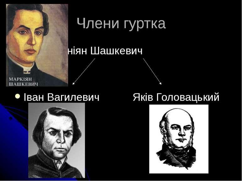 Члени гуртка Марніян Шашкевич Іван Вагилевич Яків Головацький