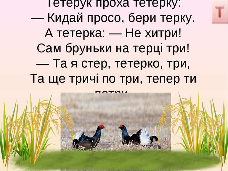 Тетерук проха тетерку: — Кидай просо, бери терку. А тетерка: — Не хитри! Сам ...