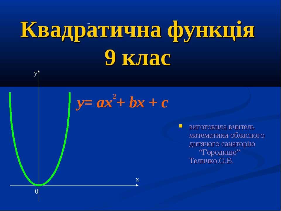 Квадратична функція 9 клас виготовила вчитель математики обласного дитячого с...