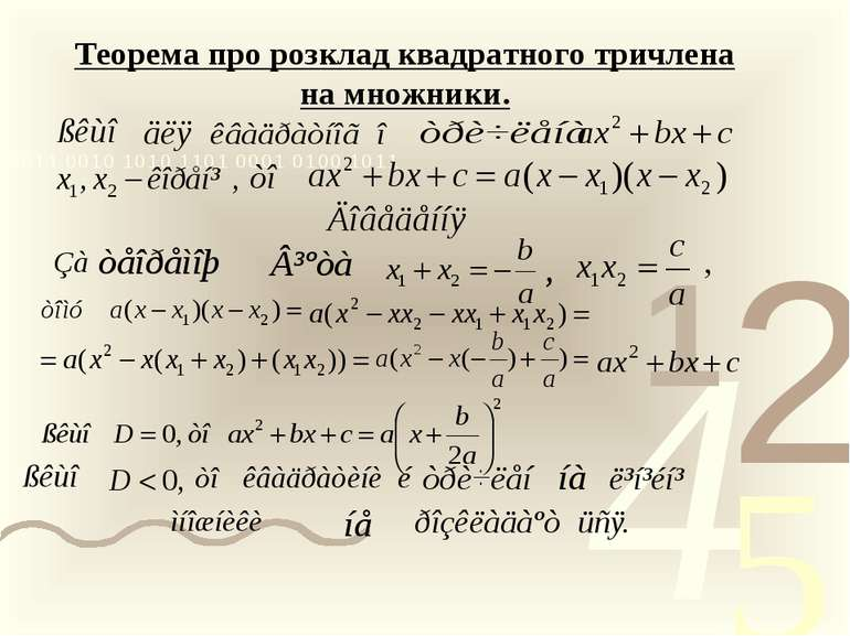 Теорема про розклад квадратного тричлена на множники.