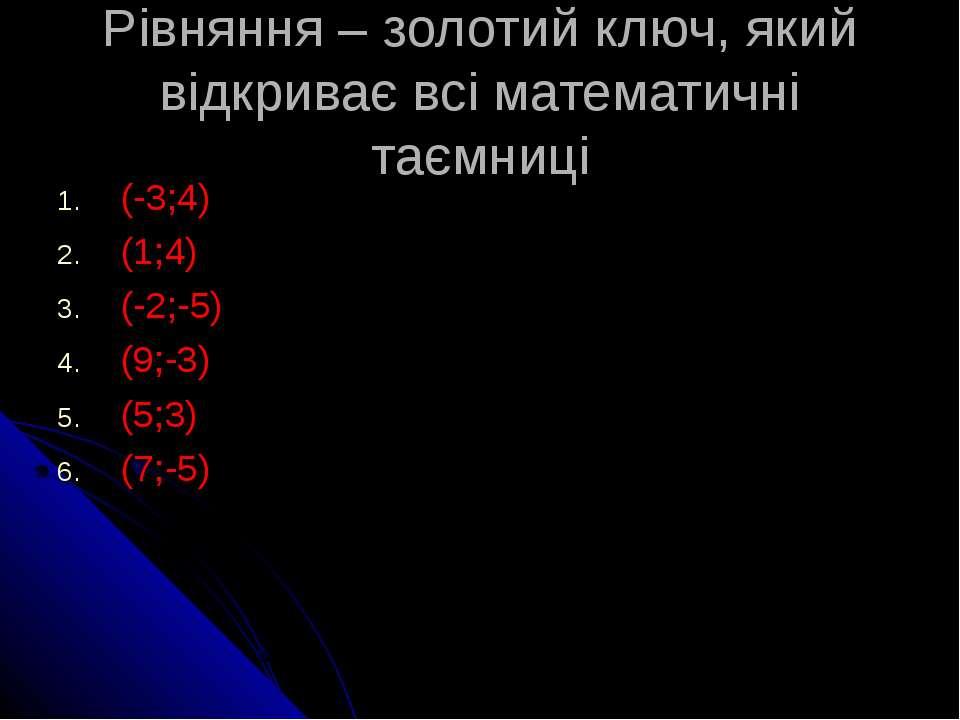 Рівняння – золотий ключ, який відкриває всі математичні таємниці (-3;4) (1;4)...