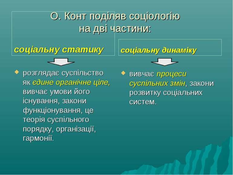 О. Конт поділяв соціологію на дві частини: соціальну статику розглядає суспіл...