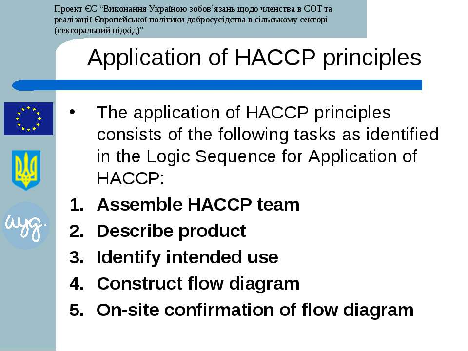 Application of HACCP principles The application of HACCP principles consists ...