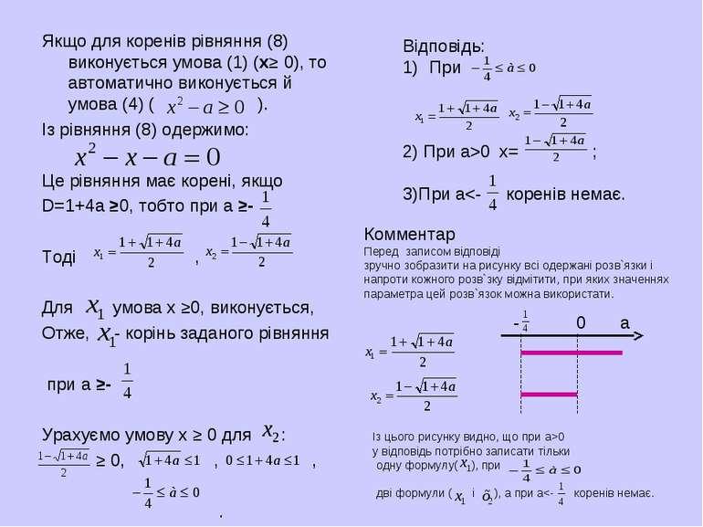 Якщо для коренів рівняння (8) виконується умова (1) (х≥ 0), то автоматично ви...