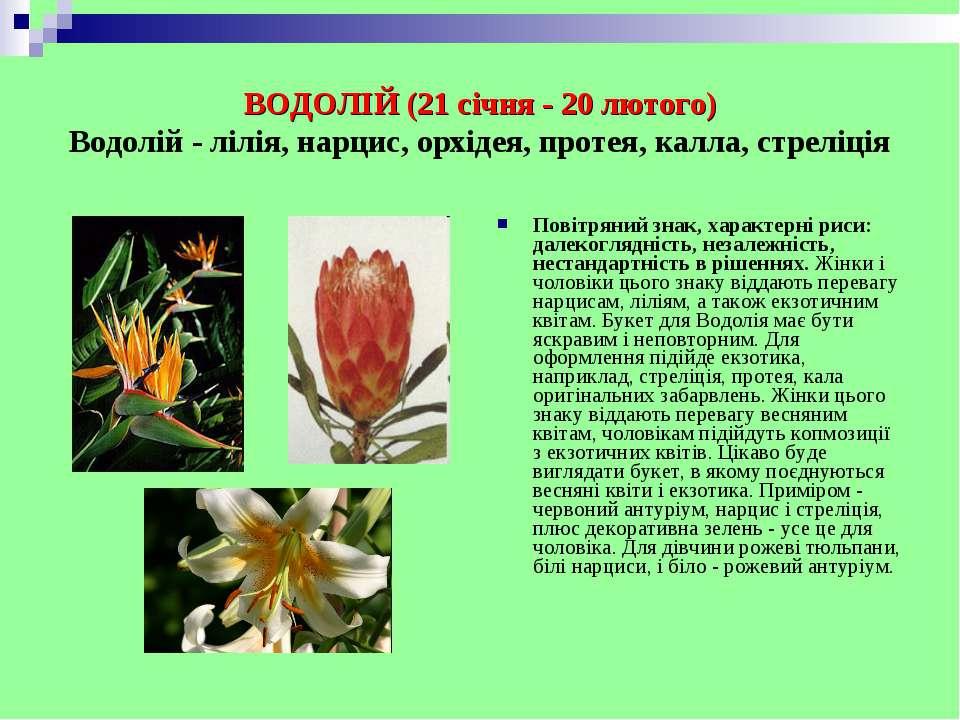 ВОДОЛІЙ (21 січня - 20 лютого) Водолій - лілія, нарцис, орхідея, протея, калл...