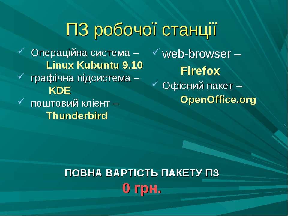 ПЗ робочої станції Операційна система – Linux Kubuntu 9.10 графічна підсистем...
