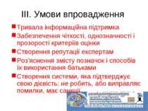 ІІІ. Умови впровадження Тривала інформаційна підтримка Забезпечення чіткості,...