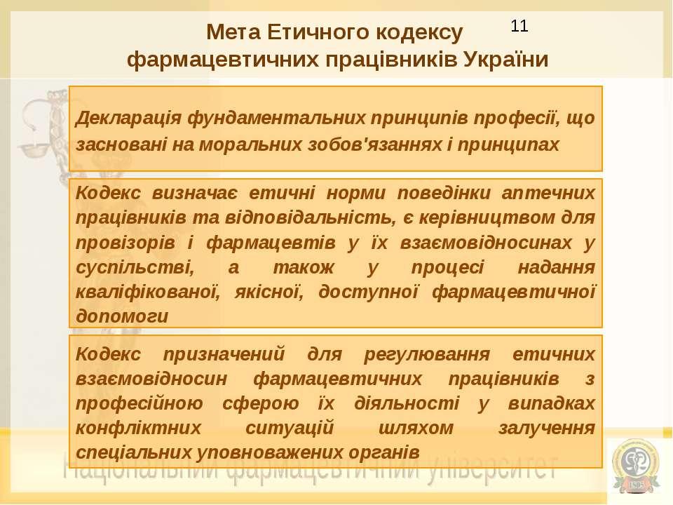 Мета Етичного кодексу фармацевтичних працівників України Декларація фундамент...