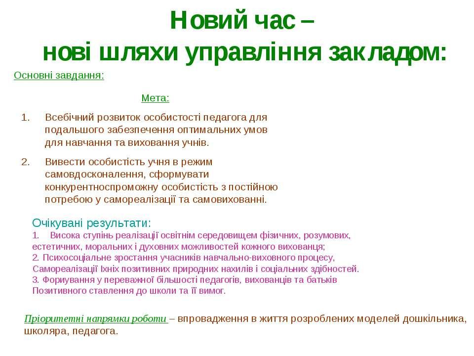 Основні завдання: Мета: Всебічний розвиток особистості педагога для подальшог...