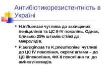 Антибіотикорезистентність в Україні H.influenzae чутлива до захищених пеніцил...
