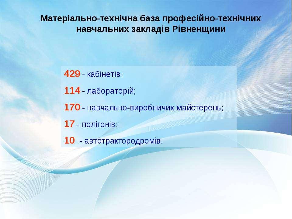 Матеріально-технічна база професійно-технічних навчальних закладів Рівненщини...