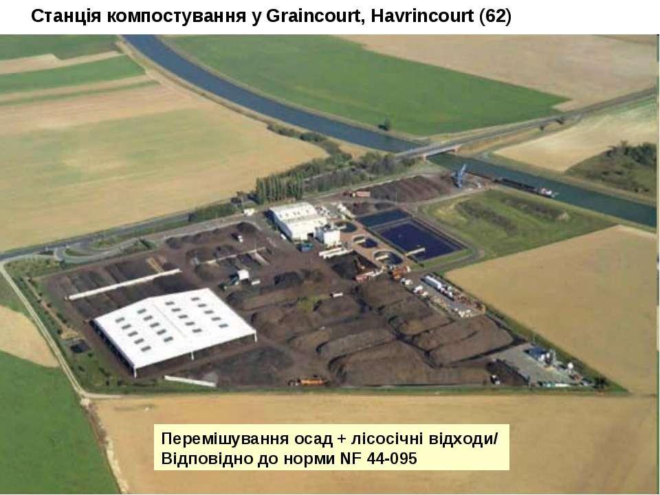 Станція компостування у Graincourt, Havrincourt (62) Перемішування осад + ліс...