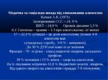 Медична та соціальна шкода від зловживання алкоголем Качаєв А.К. (1971) Захво...