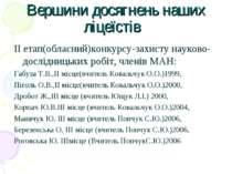 Вершини досягнень наших ліцеїстів ІІ етап(обласний)конкурсу-захисту науково-д...