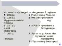 13 Установіть відповідність між датами й подіями: А 1036 р.; 1 З'їзд князів у...