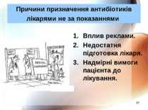 * Причини призначення антибіотиків лікарями не за показаннями Вплив реклами. ...