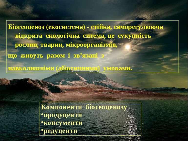 Біогеоценоз (екосистема) - стійка, саморегулююча відкрита екологічна ситема, ...