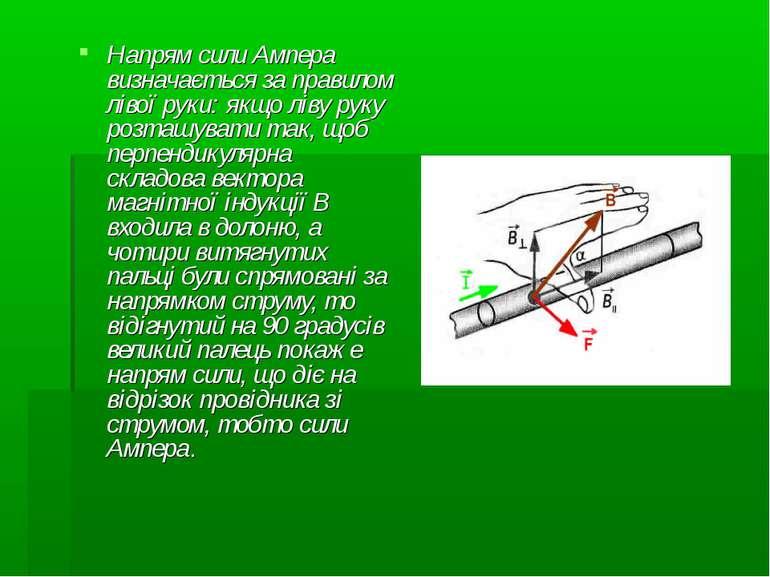 Напрям сили Ампера визначається за правилом лівої руки: якщо ліву руку розташ...