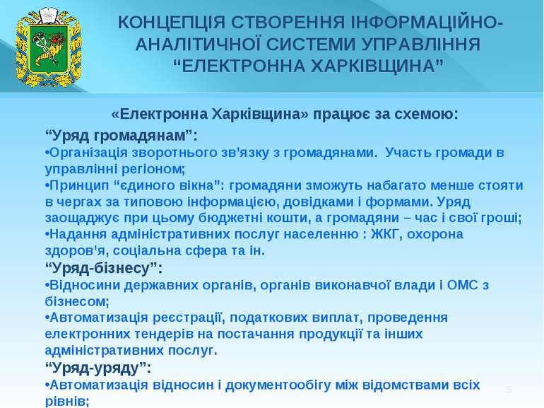 """* «Електронна Харківщина» працює за схемою: """"Уряд громадянам"""": Організація зв..."""