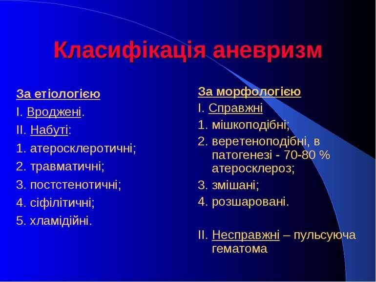 Класифікація аневризм За етіологією І. Вроджені. ІІ. Набуті: 1. атеросклероти...