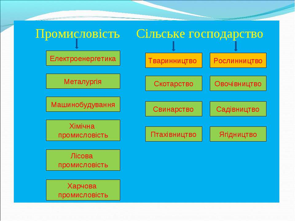 Промисловість Сільське господарство Електроенергетика Машинобудування Хімічна...